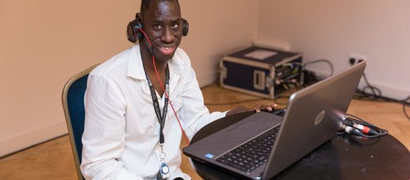 Michael, one of our Learning Disability customers DJing
